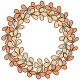 Brown wreath vector frame on white background