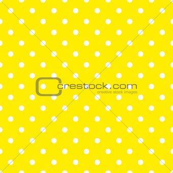 Tile vector pattern with white polka dots on yellow background