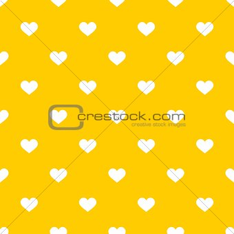 Tile vector pattern with white hearts on yellow background