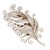 isolated decorated feather in the boho style