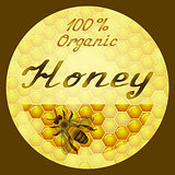 Vector honey round label design. Honeycombs texture background.