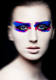 Beauty creative art makeup on black background