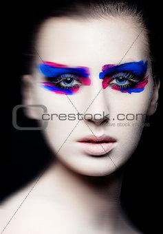 Beauty creative art makeup on black background