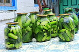 Cucumbers in the jars prepared for preservation