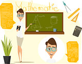 Back to school vector illustration. Math lesson. Infographics mathematics. EPS 10