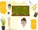 Back to school vector illustration. Math lesson. Infographics mathematics. EPS 10