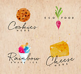 Watercolor label cheese kraft