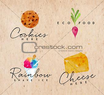 Watercolor label cheese kraft