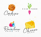 Watercolor label cheese