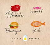 Watercolor label burger kraft