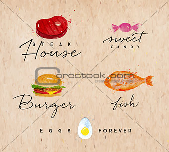 Watercolor label burger kraft