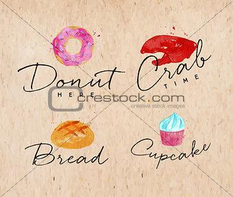 Watercolor label crab kraft