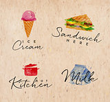 Watercolor label sandwich kraft