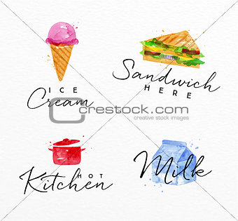 Watercolor label sandwich