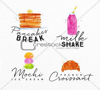 Watercolor label croissant