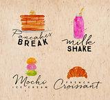 Watercolor label croissant kraft