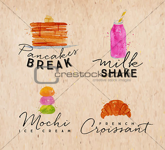 Watercolor label croissant kraft