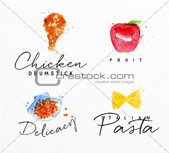 Watercolor label pasta