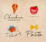 Watercolor label pasta kraft