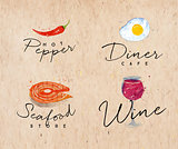 Watercolor label seafood kraft
