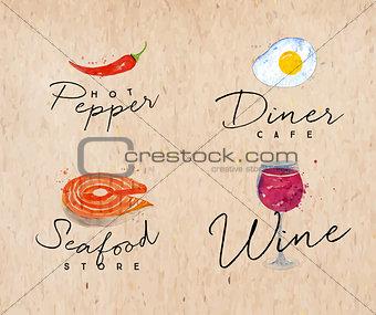 Watercolor label seafood kraft