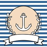 Nautical vector card or invitation with anchor