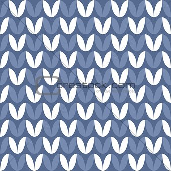 Tile blue and white knitting vector pattern