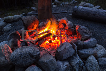 Camp fire in the nigth