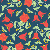 Vector flowers seamless pattern in traditional russian style