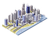Vector isometric city downtown