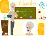 Back to school vector illustration. Chemistry lesson. Experiments. Infographics . EPS 10