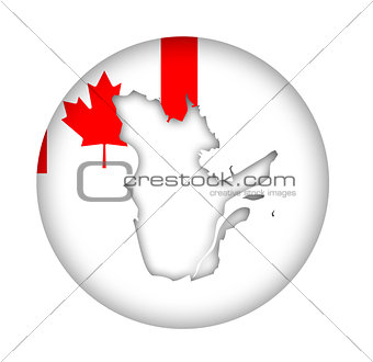 Canada Quebec state map flag button
