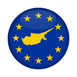Cyprus map European Union flag button