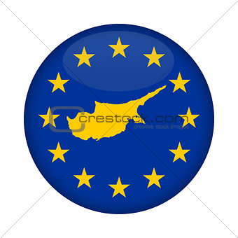 Cyprus map European Union flag button