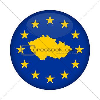 Czech Republic map European Union flag button