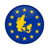 Denmark map European Union flag button