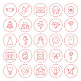 Line Circle Love Heart Icons Set