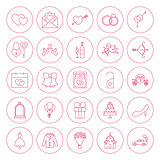 Line Circle Wedding Icons Set