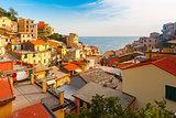 Panorama of Riomaggiore, Cinque Terre, Liguria, Italy