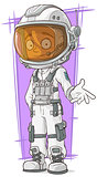 Cartoon astronaut in white space suit