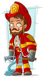 Cartoon bearded fireman with fire-pump