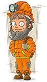 Cartoon cave digger with helmet and flashlight