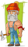 Cartoon old lumberjack in red cap