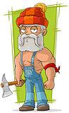 Cartoon old lumberjack in red cap