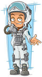 Cartoon pilot in cool white helmet