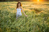 Girl in rye field