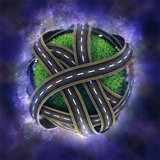 3D globe with road network on nebula background
