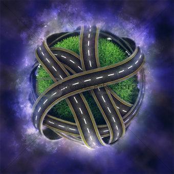 3D globe with road network on nebula background