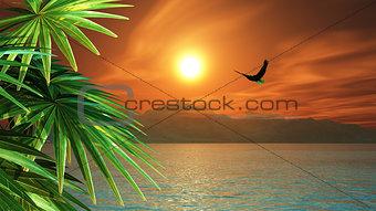 3D render of eagle flying in a tropical landscape