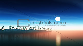 3D island with palm trees at sunset